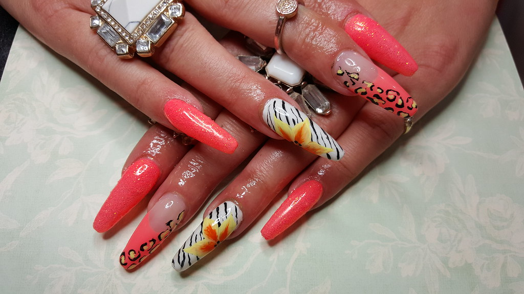 Coffin nails with neon gel polish zebra print and one stro… | Flickr