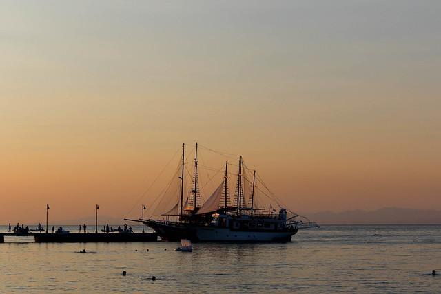 Greek Ship at Sunset