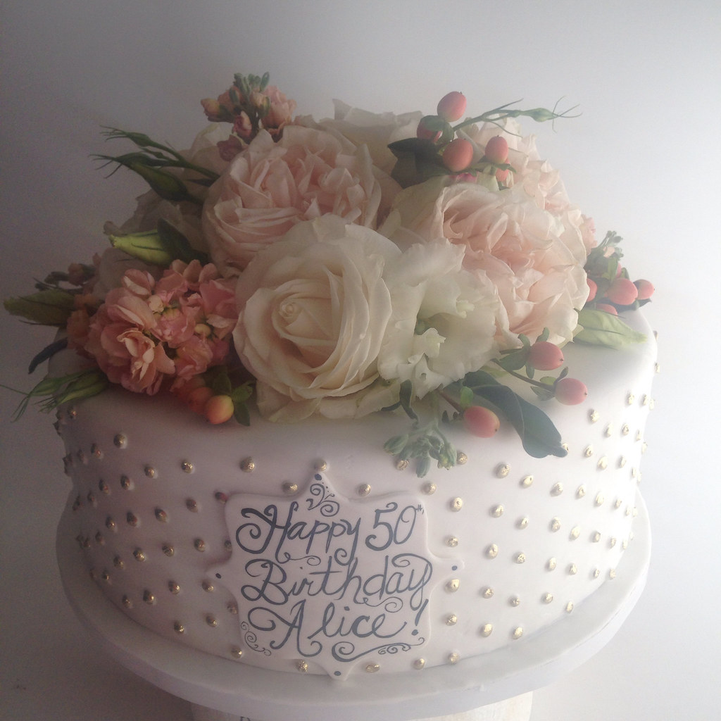 50th Birthday Cake With Gold Dots And Fresh Flowers 3748