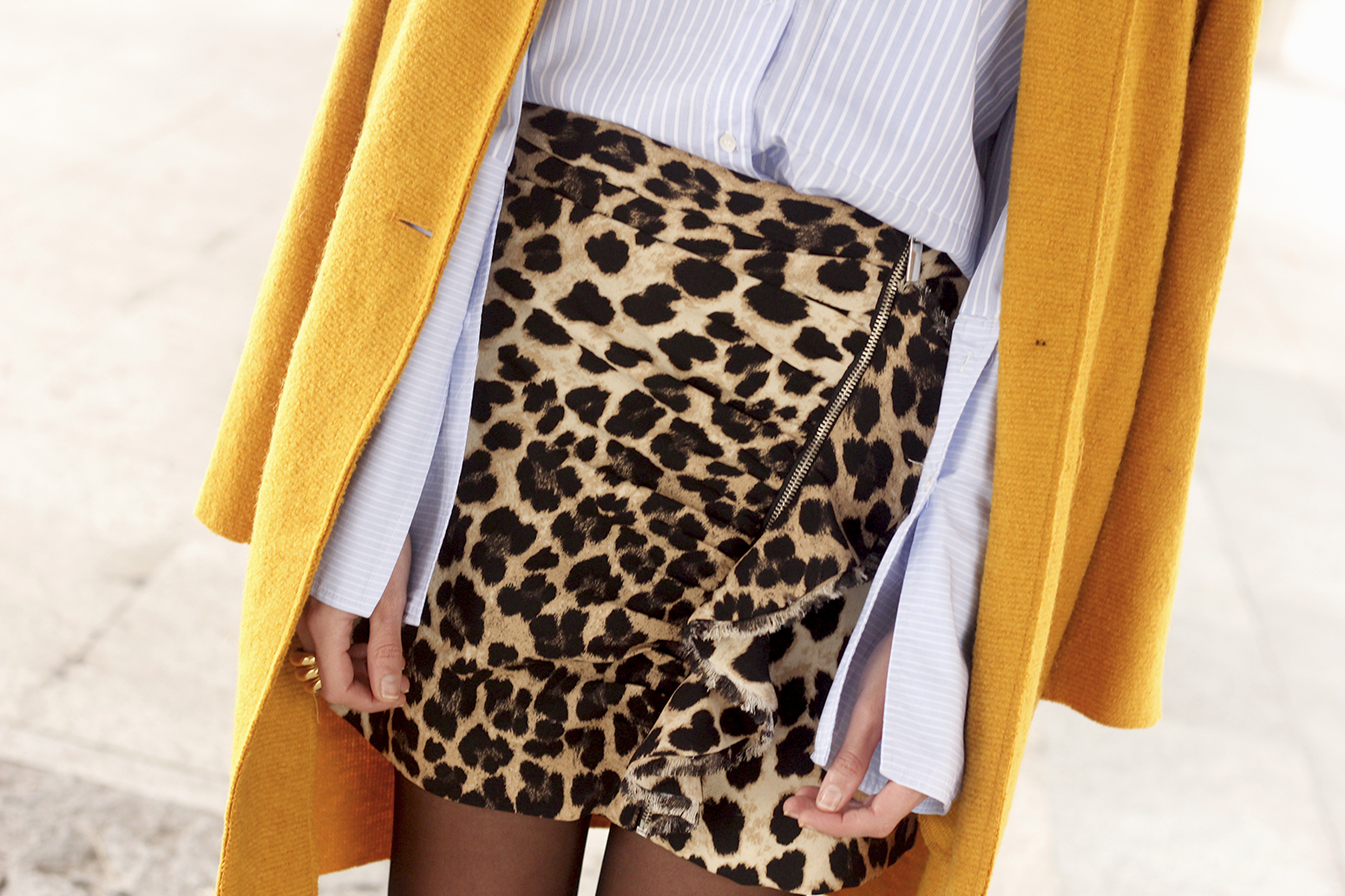 Leopard Skirt striped shirt black heels mustard coat fall outfit style fashion12