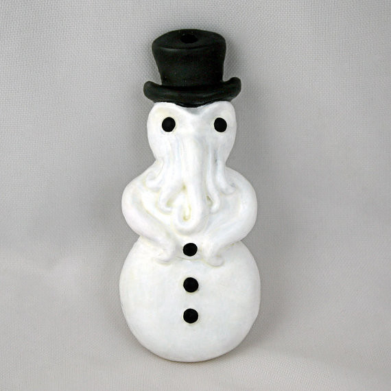 Cthulhu Snowman Christmas Tree Ornament by Draig Athar Designs
