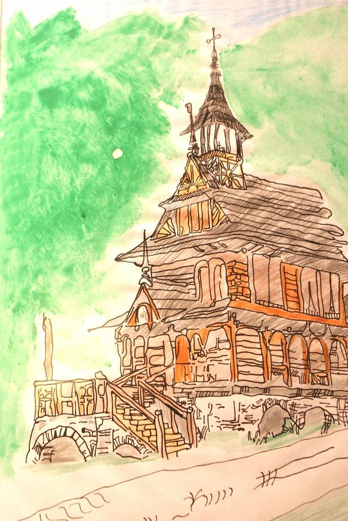 Chapelle Jaszczurka à Zakopane sur un dessin de Wiktoria Karpiel (15 ans).