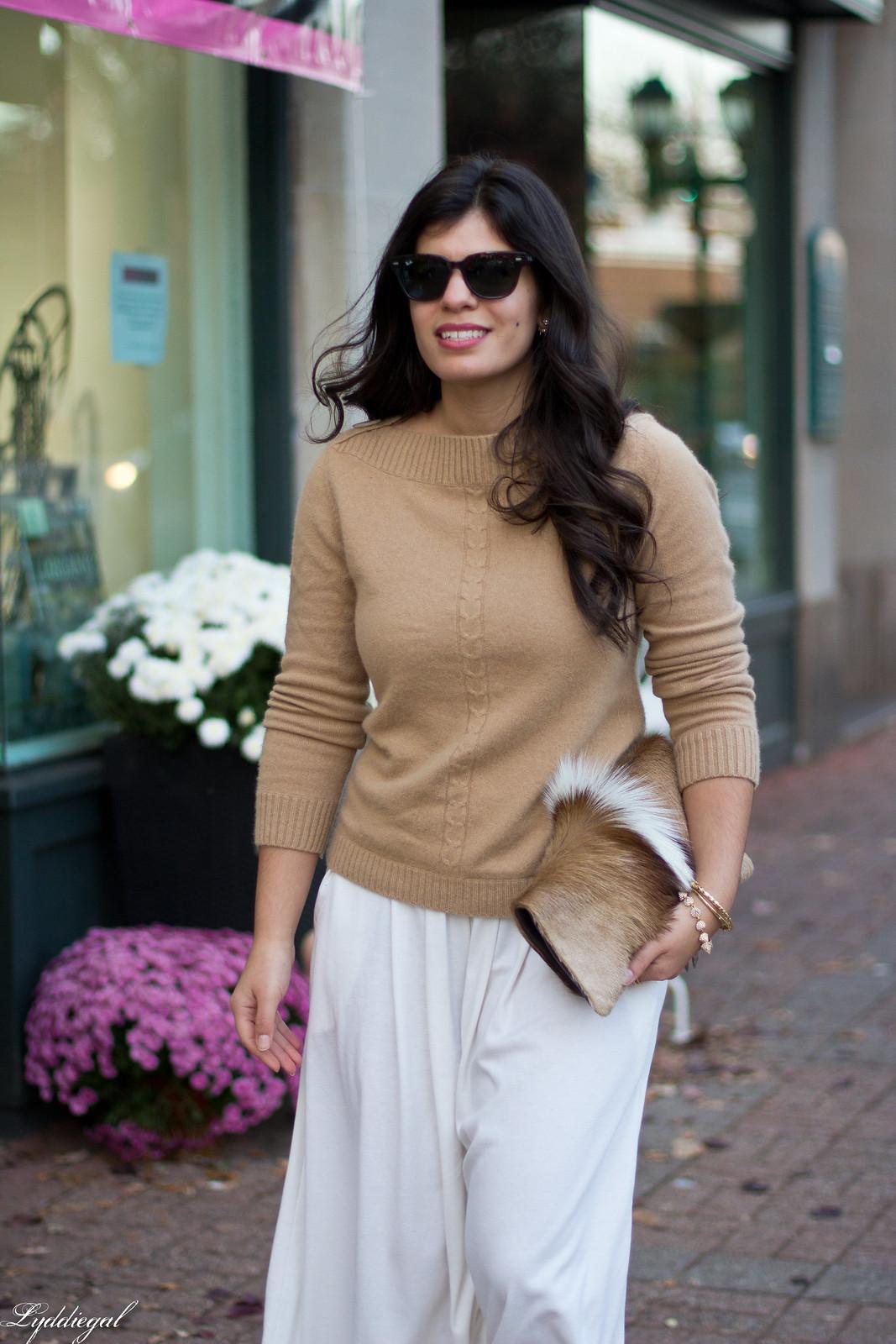 white Culottes, camel sweater, toe cap heels, springbok clutch-8.jpg