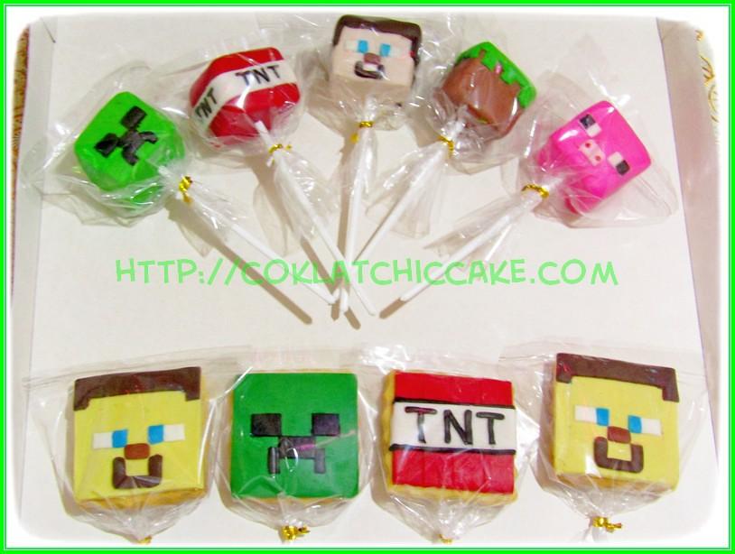 Cakepops dan cookies Minecraft