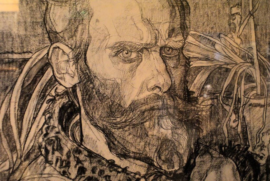 Autoportrait au fusain de Jan Rembowski à la Willa Oksza.