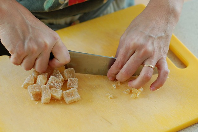 Chopping up the crystallized ginger for the crust by Eve Fox, the Garden of Eating, copyright 2016