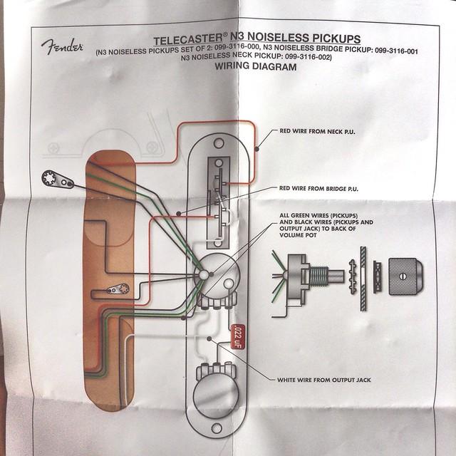 Fender Telecaster N3 Noiseless Pickups wiring diagram | Flickr