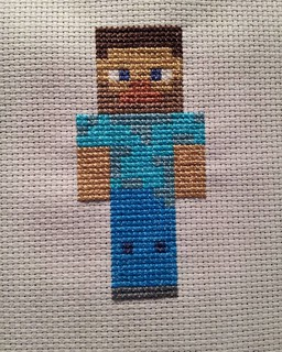 Steve from Minecraft. Makes a speedy present for any Minecraft lovers in your life. Free pattern coming soon. #minecraft #crossstitch #xstitchersofinstagram #xstitch | by cseneque