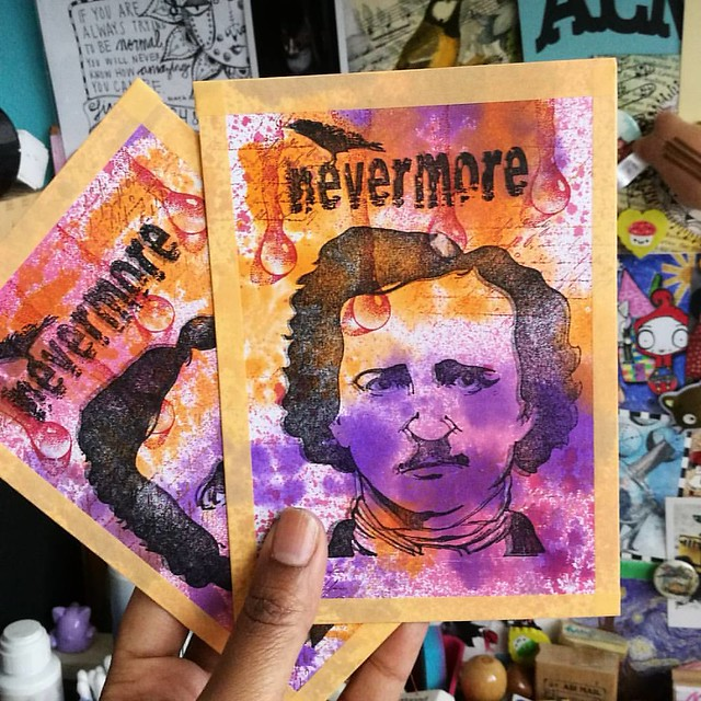Making postcards for the #blueghostexchangenumbathree :) #blueghostexchange #halloween #edgarallanpoe #rubberstamping @letterletter