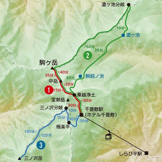 登山コースの案内-駒ヶ岳ロープウェイ