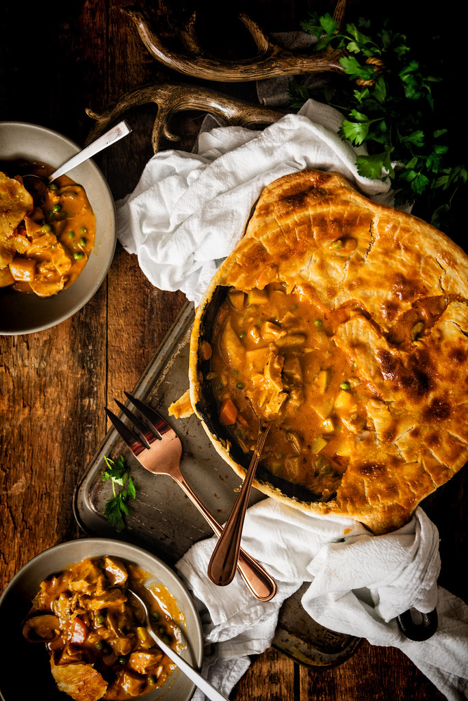 Talk about comfort food! Curried Turkey Pot Pie - perfect for using up leftover turkey or chicken | Recipe at PasstheSushi.com