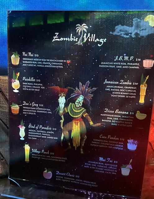 Zombie Village menu