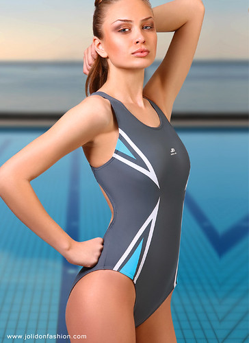 Designer Sport Performance Silver One Piece Swimsuit By Jo