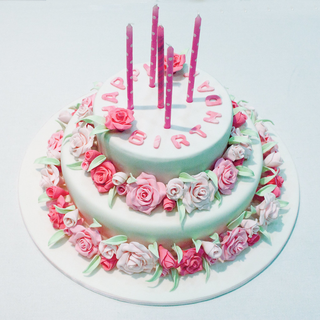 Pink Rose Birthday Cake Made For A 40th Birthday Party Flickr