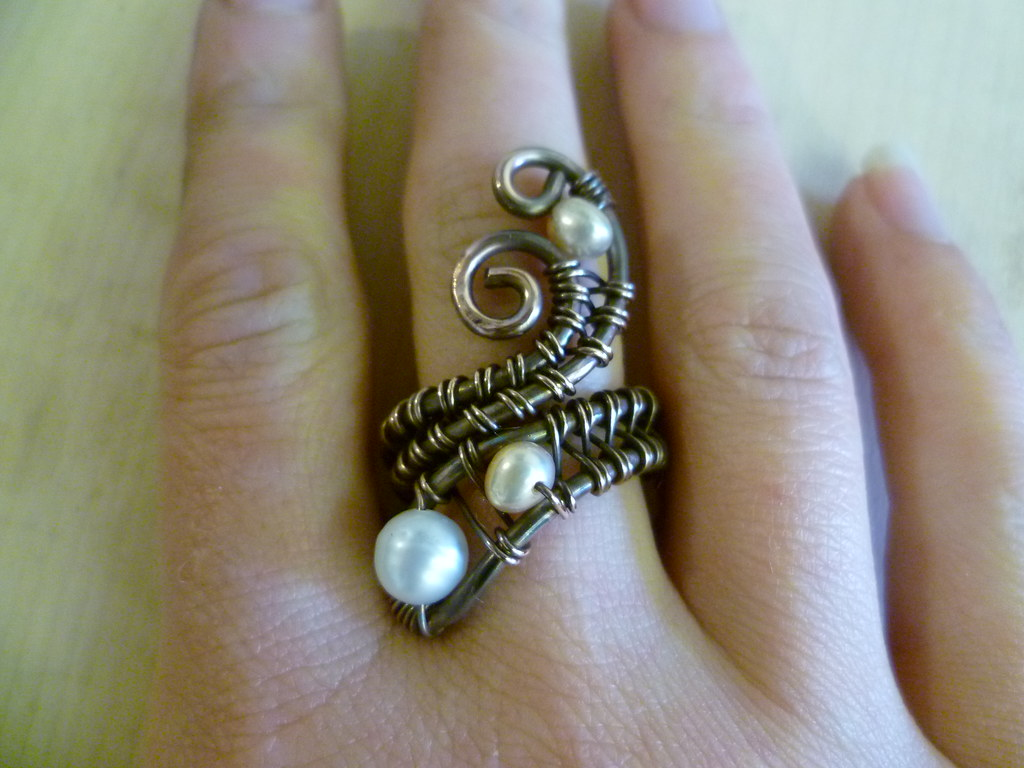 pearl and copper wire wrapped ring natalia bianco flickr. Black Bedroom Furniture Sets. Home Design Ideas