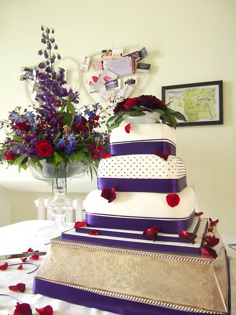 Purple Amp Deep Red Polka Dot Wedding Cake Flickr Photo