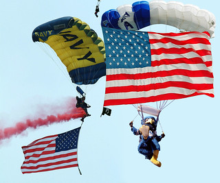 The U.S. Air Force academy icon bird amuses the audience during a skydiving performance | by loomingy1