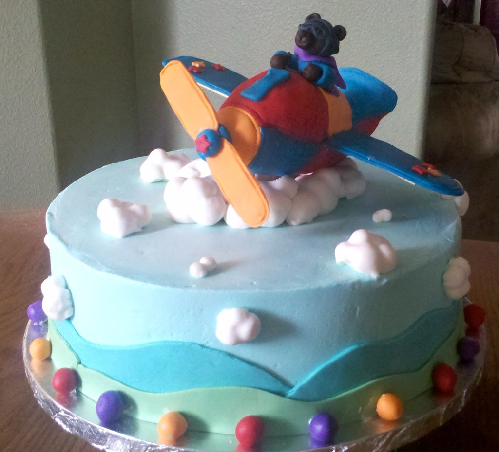 First Birthday Plane Themed Cake.