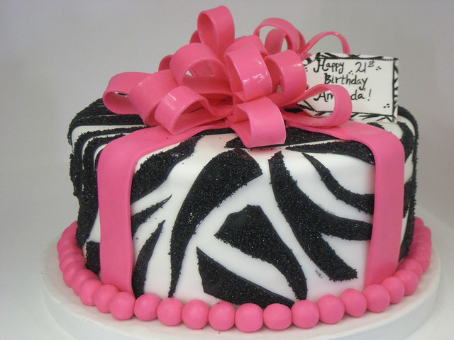 Zebra Design Birthday Cake : Zebra Print birthday cake (617) Flickr - Photo Sharing!