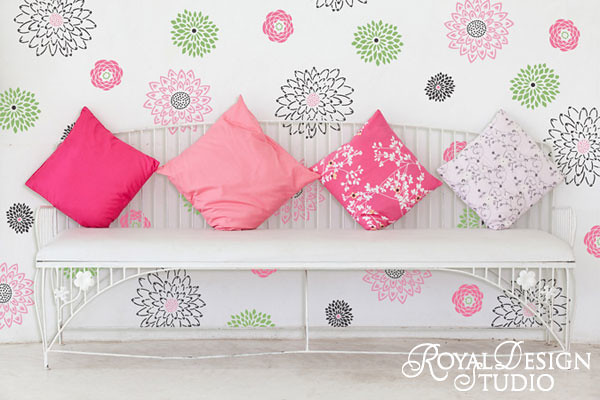Japanese Flower Garden Wall Stencil By Royal Design Studio Flickr