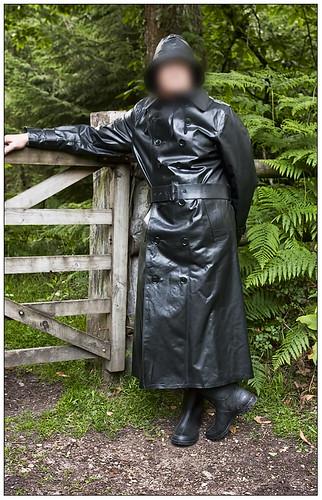 Hussar Mackintosh  A Heavy, Shiny Black Rubber Mackintosh -7829