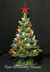 green ceramic christmas tree on electric lighted stand 9 inches tall by texas hill country - Green Ceramic Christmas Tree With Lights