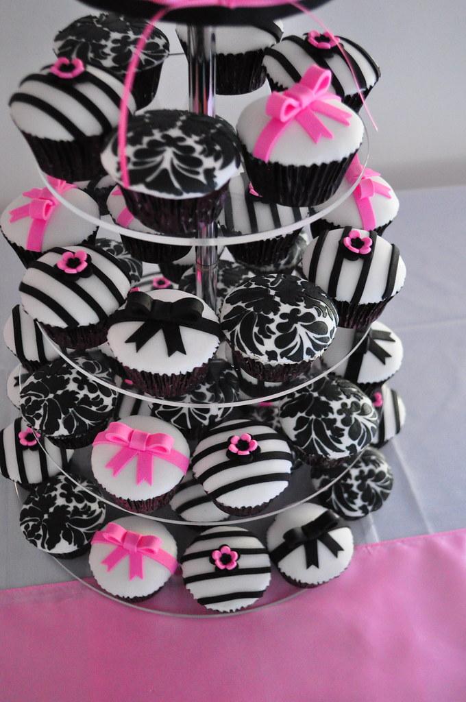 Pink And Black Damask Cake