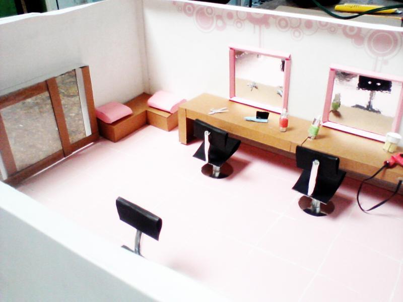 estetica de papel 7 maqueta de un salon de belleza con