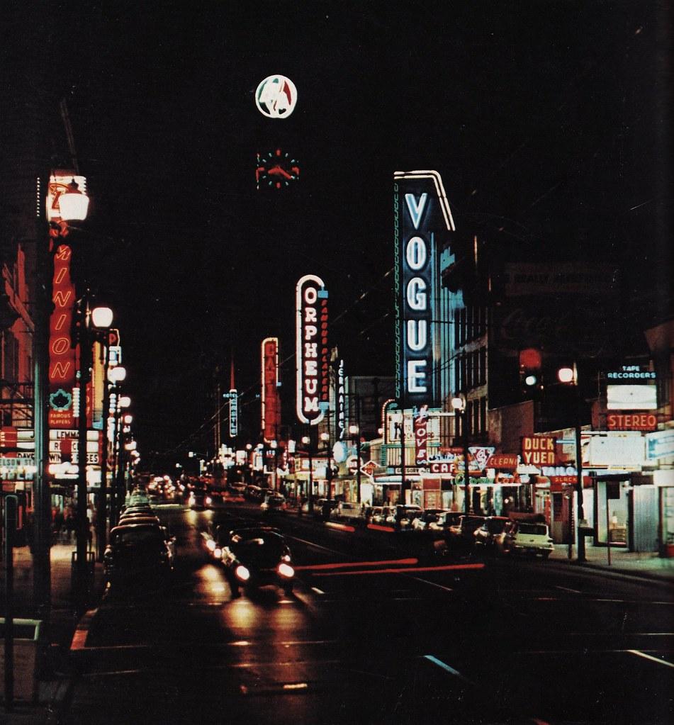 Granville Street At Night 1963 Night Shot Of Granville