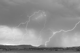 Rocky Mountain Front Range Foothills Lightning Strikes BW | by Striking Photography by Bo Insogna