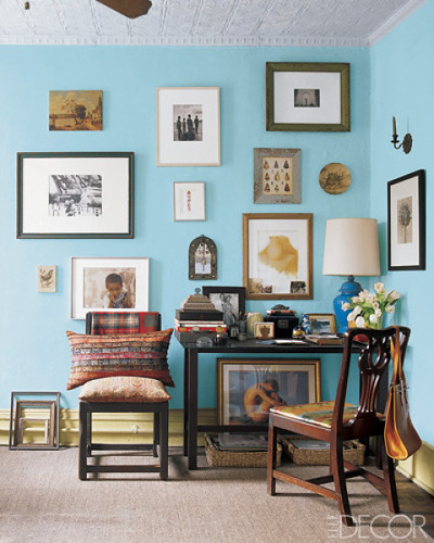 Rayman Boozer / Timothy Kolk / Elle Decor {eclectic vintage bohemian modern living room with blue walls} | by recent settlers
