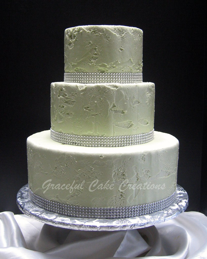 Simple but Elegant Green and Silver Wedding Cake | Grace Tari | Flickr