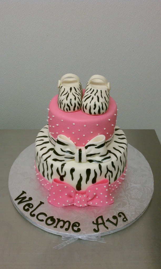 Zebra And Polkadots Baby Shower Cake Topped With Zebra Mar