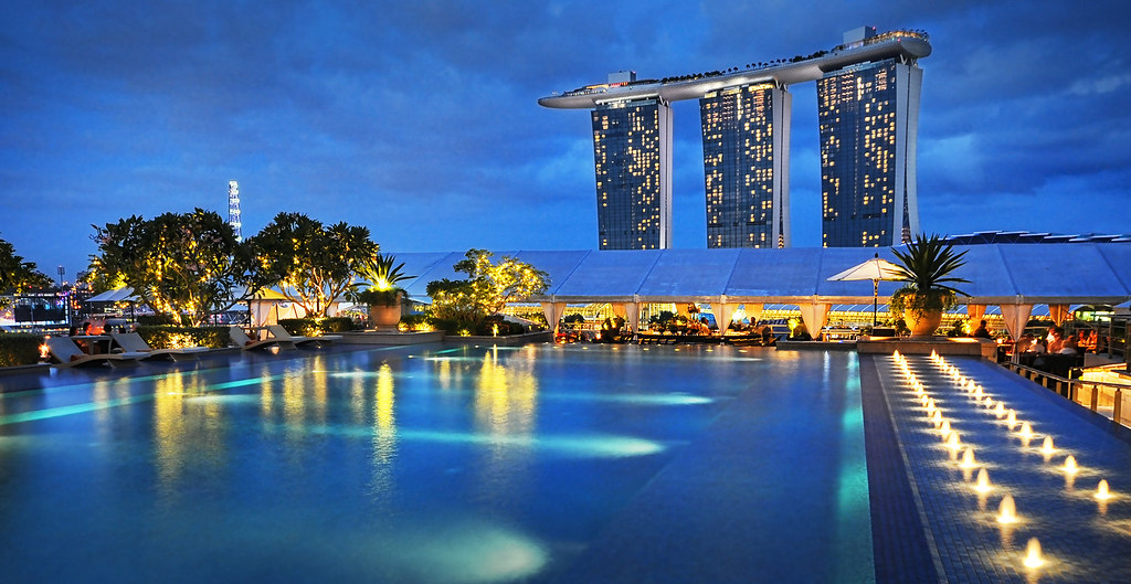 Another view of marina bay sands from the lantern rooftop - Singapore famous hotel swimming pool ...