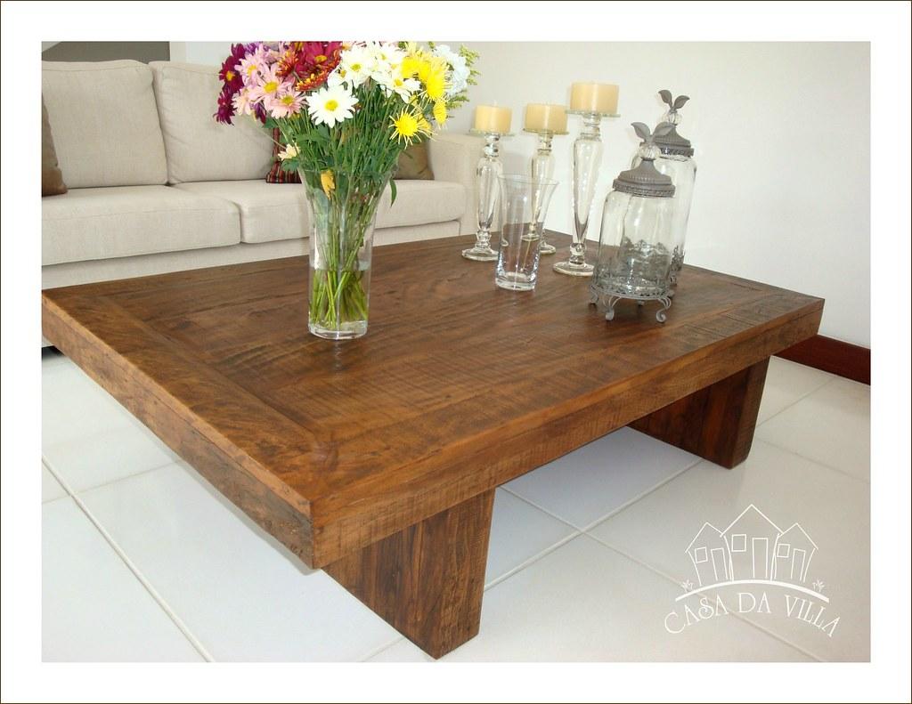 Mesa de centro p s em viga e tampo em madeira com requadro - Mesas de noche rusticas ...