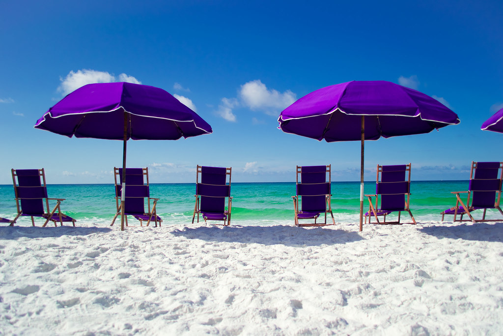 beach chairs umbrellas sand and salt water andrea horn flickr
