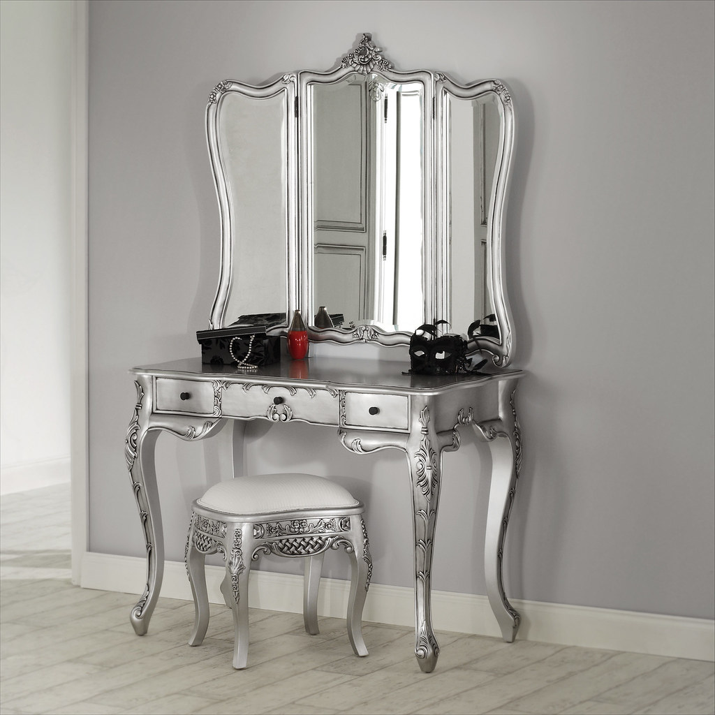 La rochelle silver dressing table featured here we have for Glass makeup table