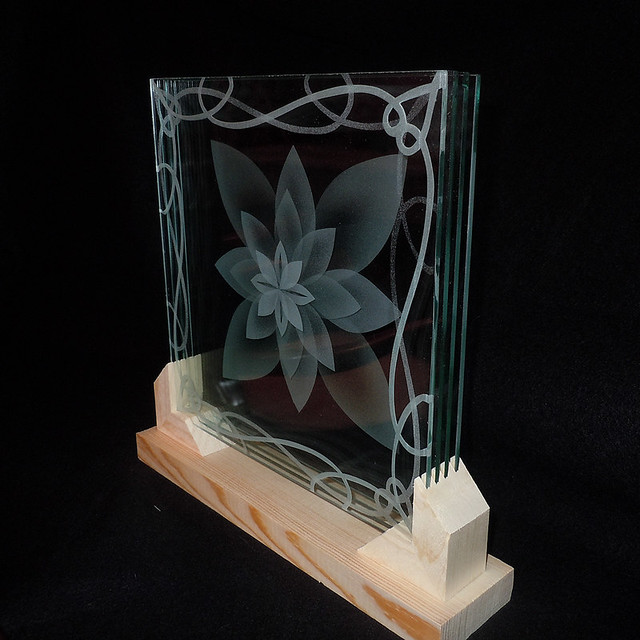 Lotus Etch Glass In Stand Layered In Frame Flickr