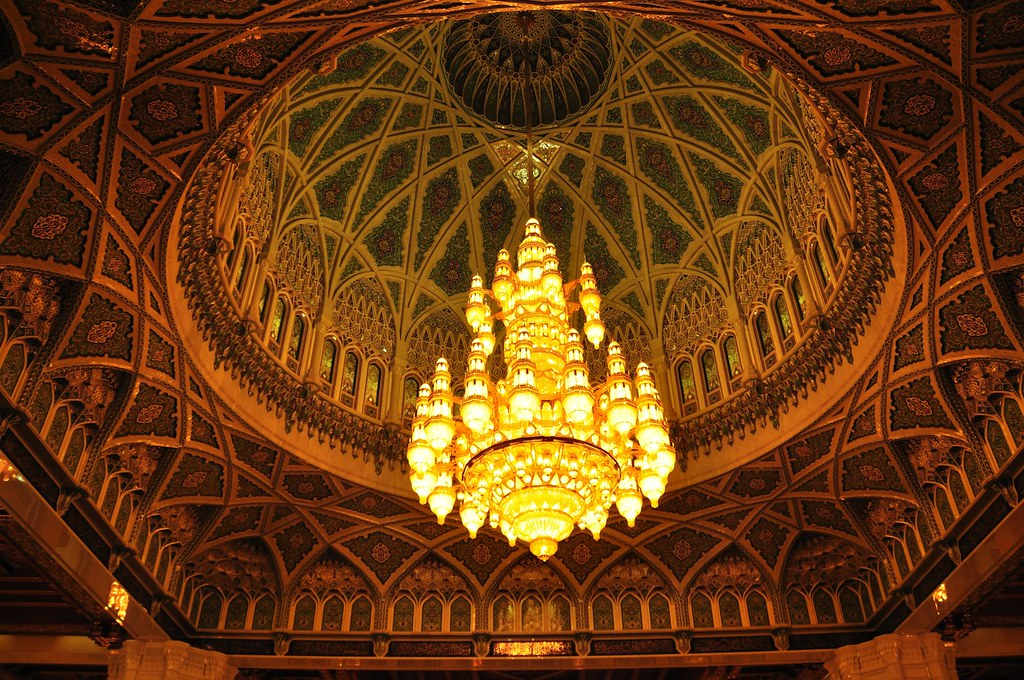 Chandelier Hanging Down The Dome Of Sultan Qaboos Grand Mo