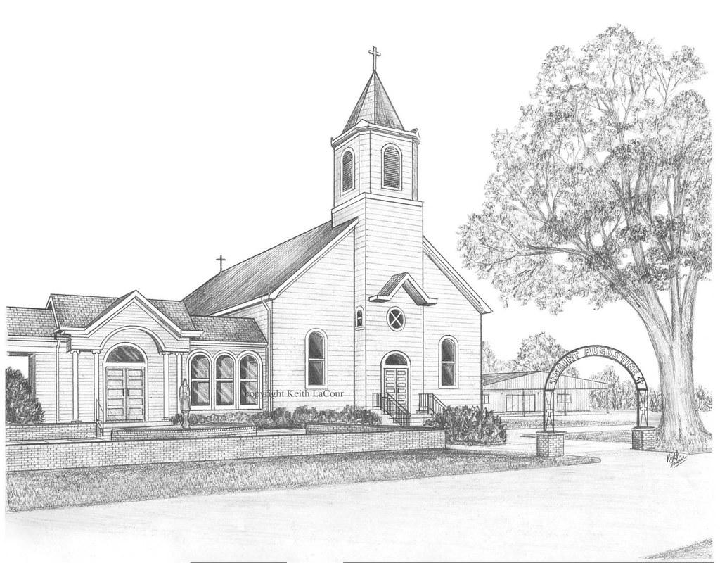 St augustine catholic church isle brevelle la 1880 by artist kl