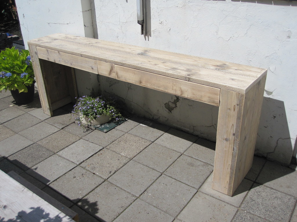 Sidetable met lades 210x40x80 cm steigerhout te koop b for Sidetable steigerhout