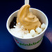 Salted Caramel Frozen Yogurt with Mochi, Coconut, and Dark Chocolate Crisps Topping at Pinkberry