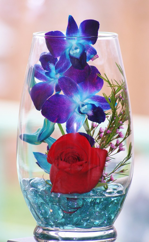 Red Rose Blue Orchids Under Glass A Special Gift