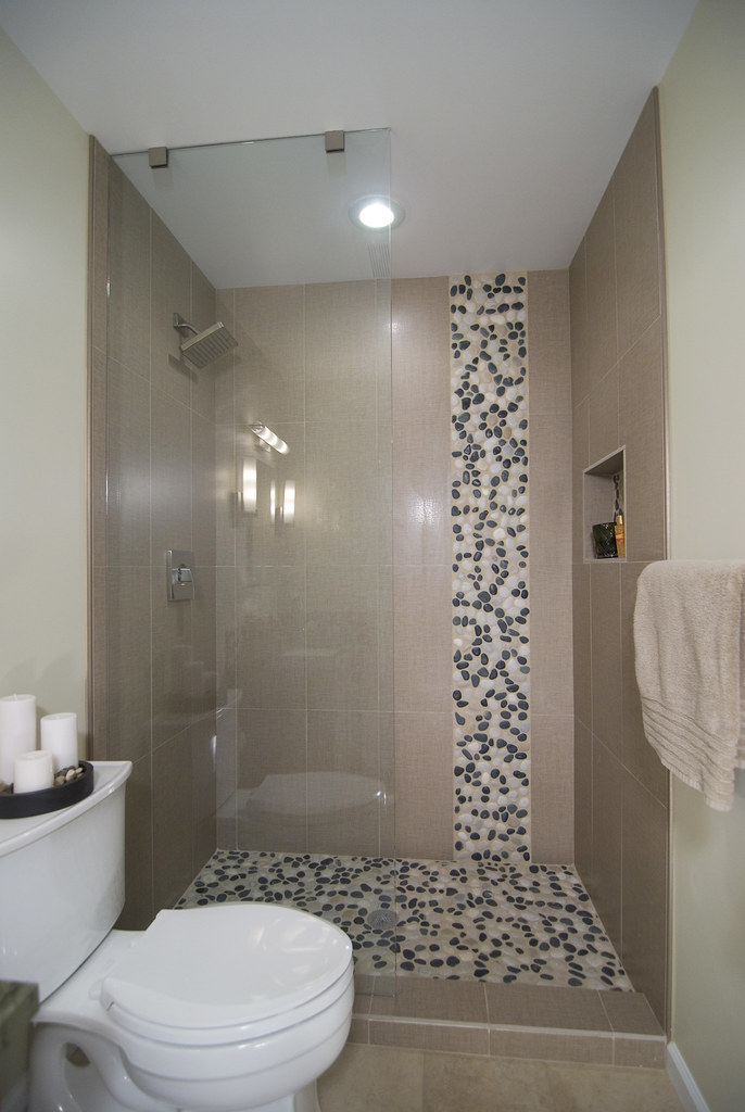 River Stone Tile Pattern Shower Bathroom Remodel