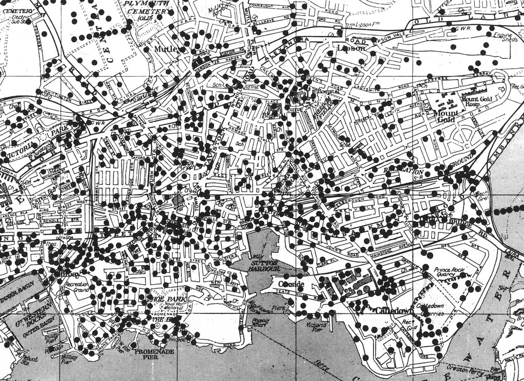 Where the bombs fell Plymouth centre I find this map fas Flickr