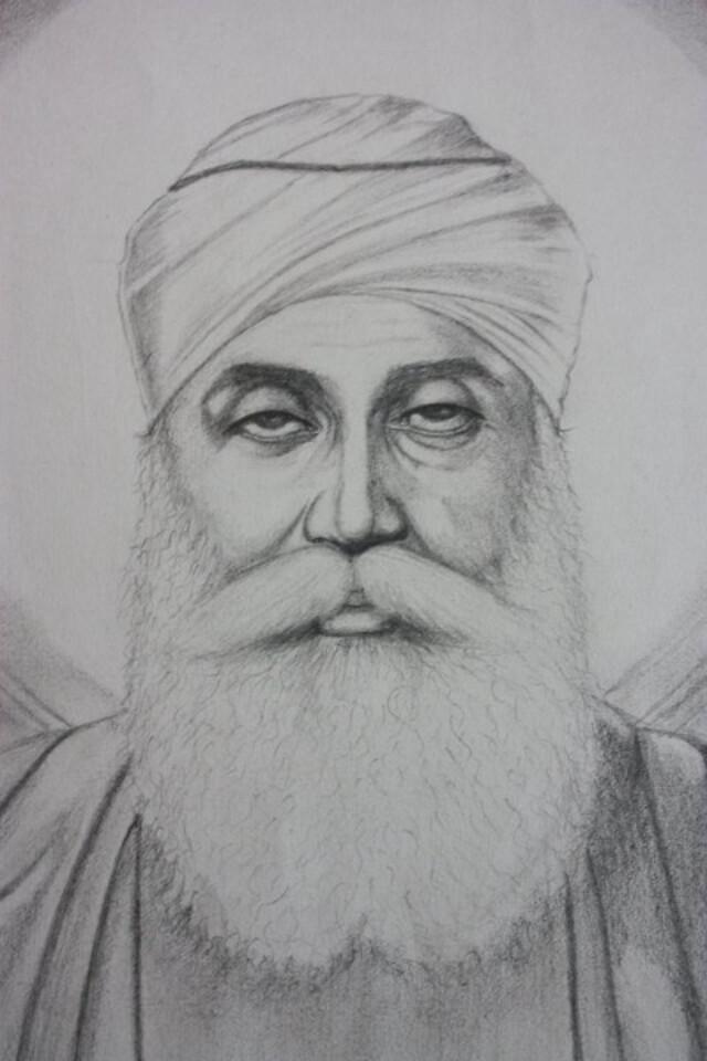 Guru Nanak Dev Ji | Sketch Of Guru Ji (Zoom In) | Raghubir ...
