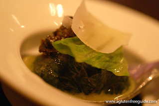 Black truffle explosion, romaine and parmesan Alinea Restaurant Chicago Gluten-Free (9) | by yumcat