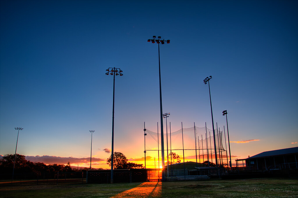 Softball field at sunset