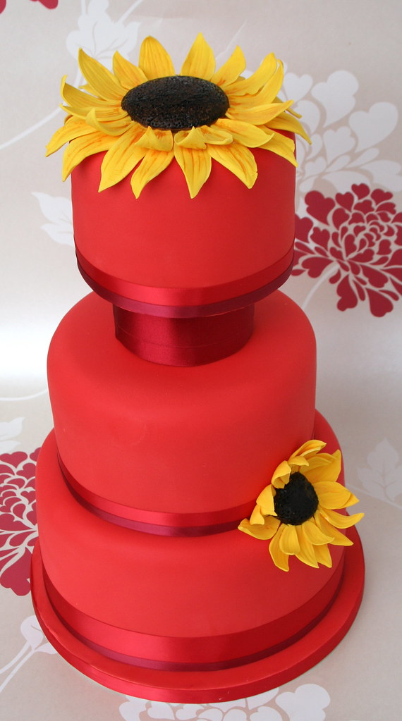 Red Sunflower Wedding Cake Bright Red Wedding Cake For A