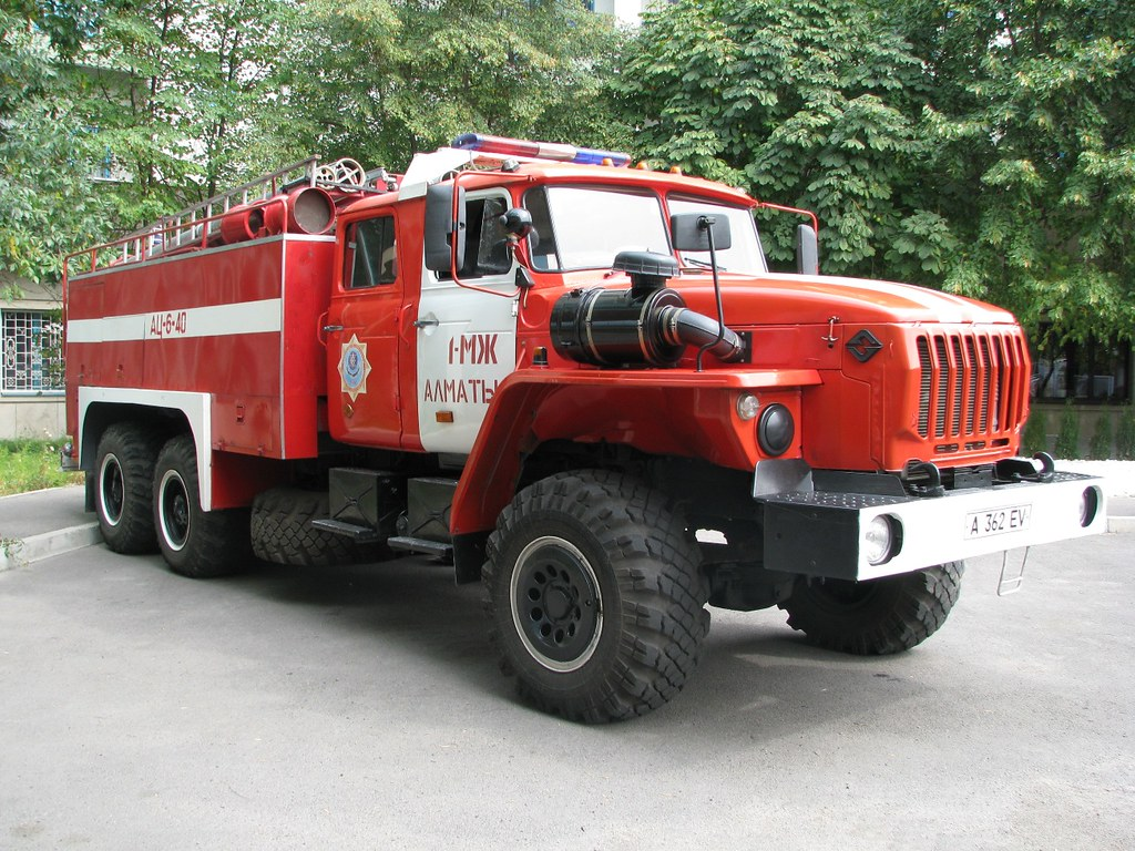 Almaty Ural fire truck | Side view of Russian Ural-5557 ...